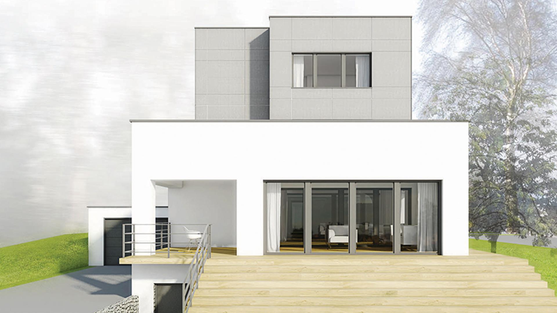 dom z płaskim dachemów jednorodzinnych